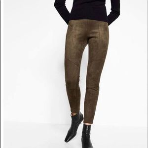Zara Faux Suede Brown Leggings